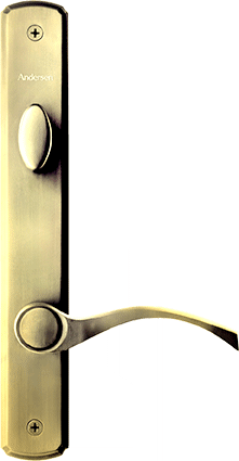 Hinger Patio Door Hardware in Bright Brass