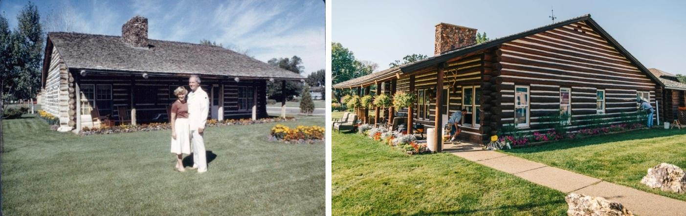 Schafer family cabin then and now
