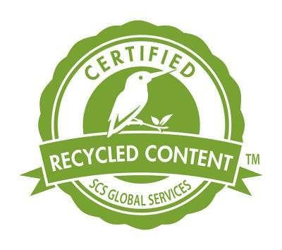 Logo for certified recycled content
