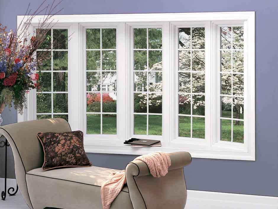 White 5 window bow, colonial grilles