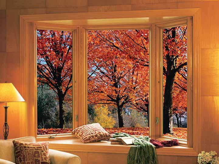 Casement bay window with wood interior
