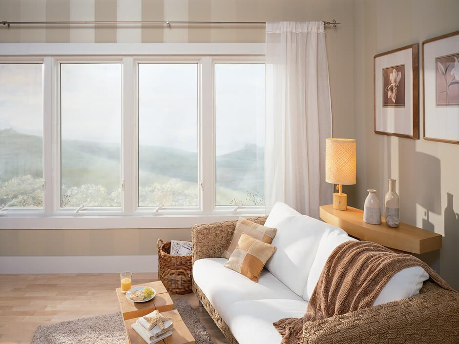 Wood interior gliding picture window