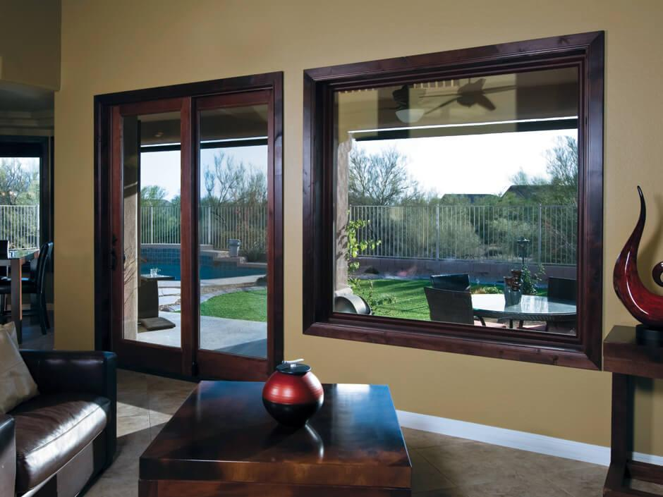 Real wood interior picture window
